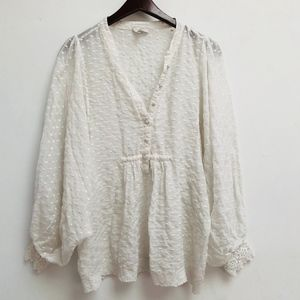White Joie Puffy sleeve top size M